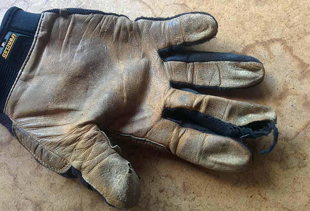 well-worn garden glove