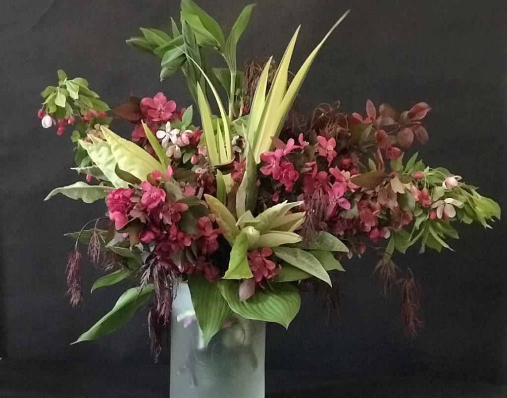 summer floral arrangement, pink and green, foraged flower design