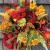 bold autumn bouquet in rich reds and oranges with yellow, fall colors, CSA share, farm flowers, The Petaled Garden
