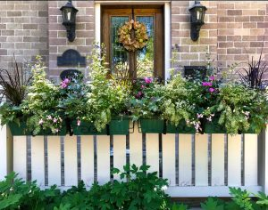 custom container garden, spring planting, floral display exterior