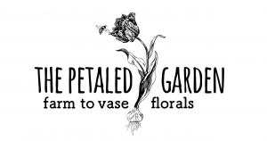 The Petaled Garden logo with parrot tulip and bee