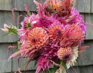dahlia bouquet, The Petaled Garden Massachusetts, dahlia floral arrangement, flower CSA